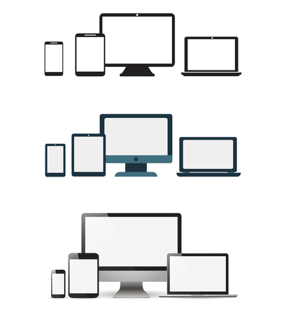 Set realistic Monitors laptop tablet and phone  vector illustration Vettoriali