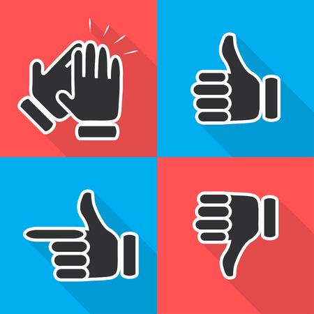 applaud: Icons in flat hand gestures illustration