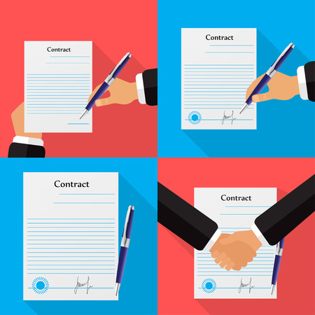Set of four different contracts, different backgrounds illustration