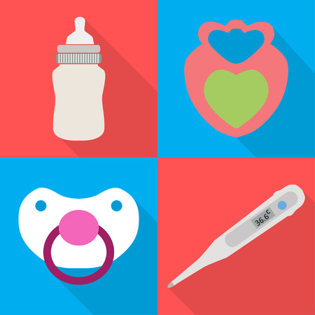 childcare: Icons childcare graphics on 4 colored  backgrounds Illustration