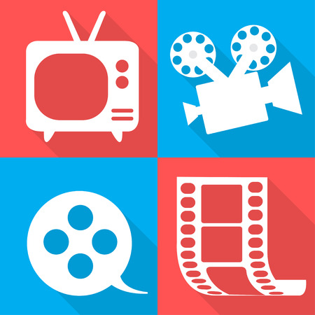 cine: Movie icons in four backgrounds illustration Illustration
