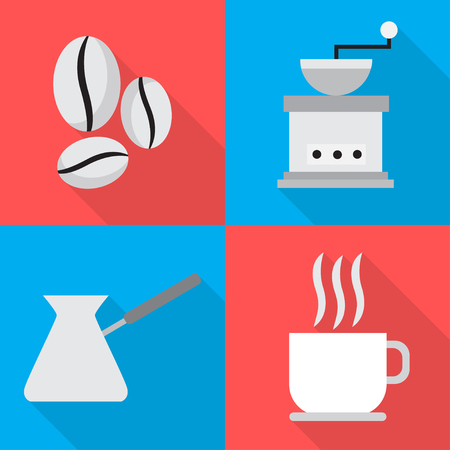 internet cafe: Coffee icons in sequence cooking  illustration