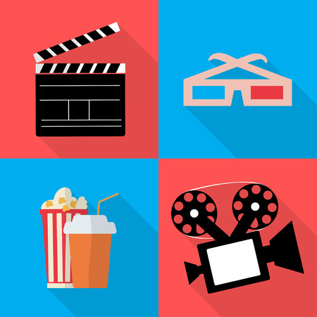 movie and popcorn: Icons for movie popcorn vector  illustration in flat