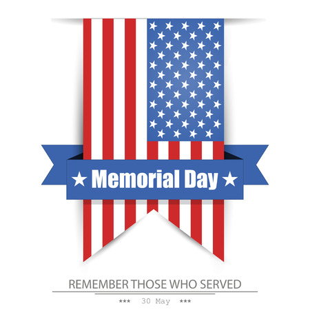 memorial: Memorial day, flag America,  isolated  background Illustration