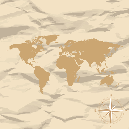 old world: World Map on old vintage retro background with compass