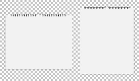 Realistyczne arkusze papieru z spiralĘ ... na odosobnionym tle