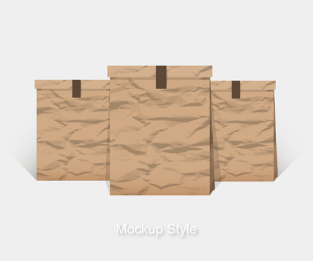 packing material: Mockup of Blank crumpled paper package for branding