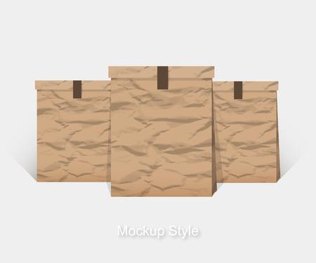 paper bag: Mockup of Blank crumpled paper package for branding