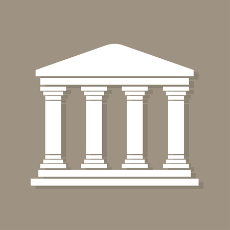 derecho romano: Arquitectura edificio símbolo griego, con sombra, pilares de la estructura, icono antiguo monumento de la arquitectura, arquitectura pictograma