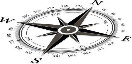 bussola: Bussola su uno sfondo bianco illustrazione vettoriale