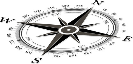 dial: Compass on a white background vector illustration