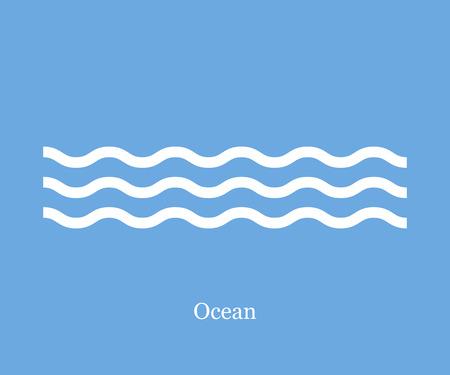 Onde icona oceano su sfondo blu