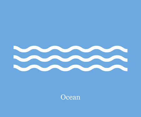 Waves icon ocean on a blue background Çizim