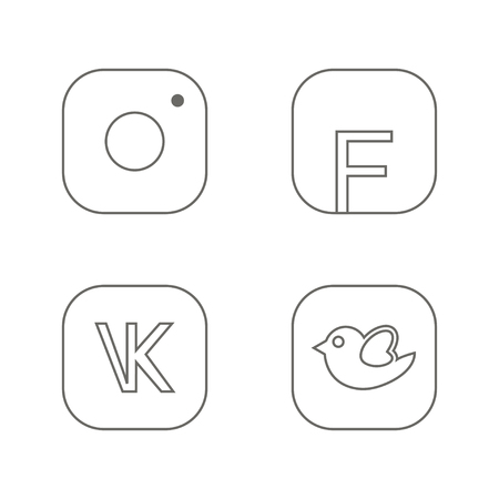 tweeter: Icons for social networking vector illustration in line Illustration