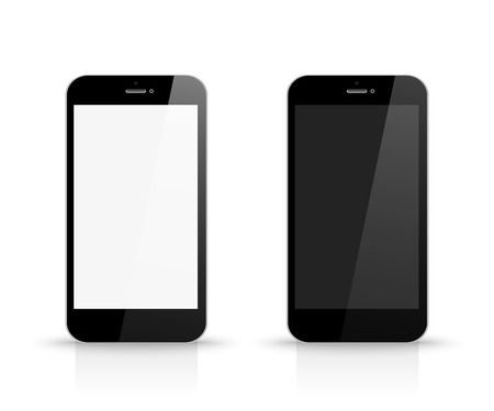 mobil: Smartphone with black and white screen front view