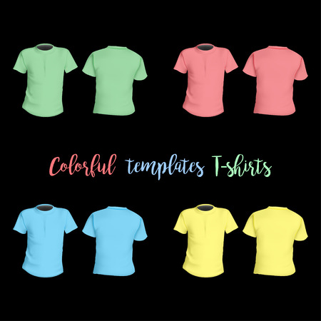 woman white shirt: Colorful T-shirts templates front and behind on a black background stylisg