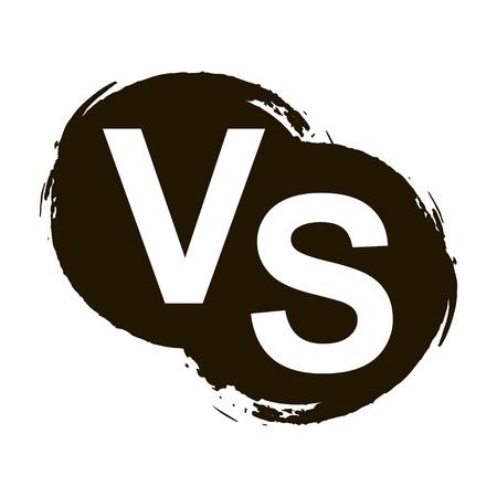 Versus lettere o vs logo isolato su schizzi nero, illustrazione vettoriale