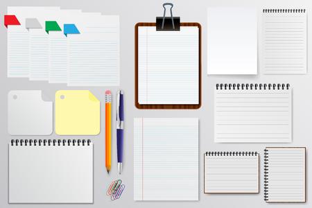 Set of stationery paper, notepads vector illustration Illustration