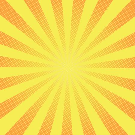 レトロな光線コミック黄色背景ラスター グラデーション ハーフトーン ポップなアート スタイル