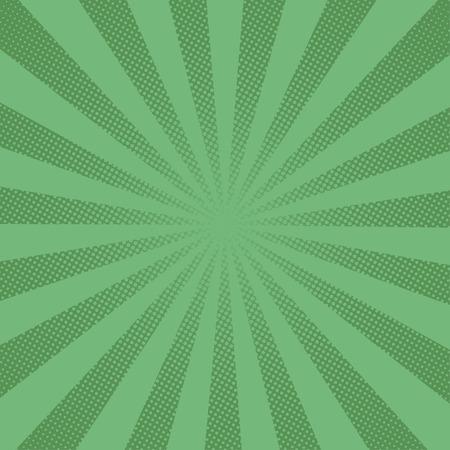 レトロな光線コミック緑背景ラスター グラデーション ハーフトーン ポップなアート スタイル  イラスト・ベクター素材