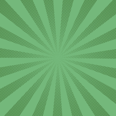 Retro rays comic green background raster gradient halftone pop art style