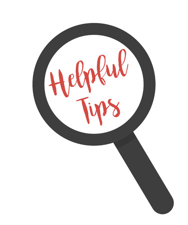 helpful: Inscription helpful tips under magnifying glass on a white background Illustration