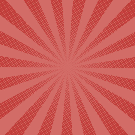 Retro rays comic red background raster gradient halftone pop art style