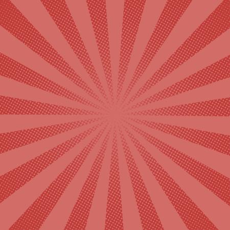 Retro Strahlen Comic-roten Hintergrund Raster Gradient Halbton Pop-Art Stil