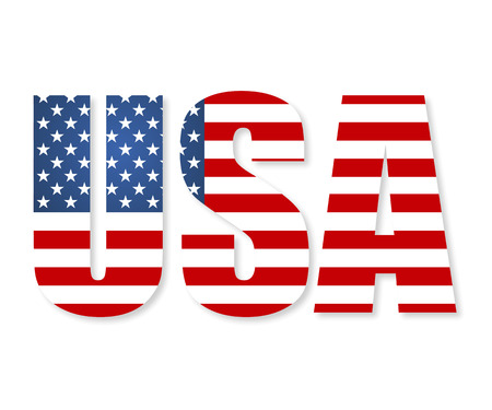 the u s  flag: United States of America flag in the form of letters