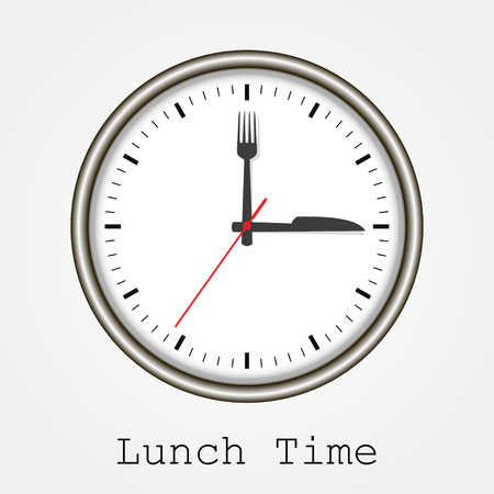 office clock: Watch at lunch on a white background