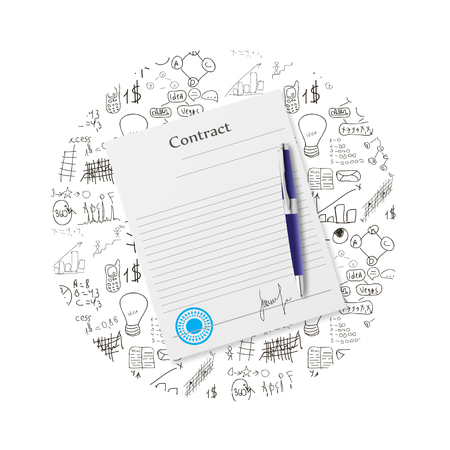 business contract: Illustration of signing the contract on the background of a business plan