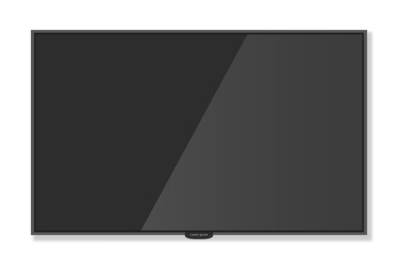 plasma monitor: Plasma TV hanging on the wall with shadow white background, Mockup style