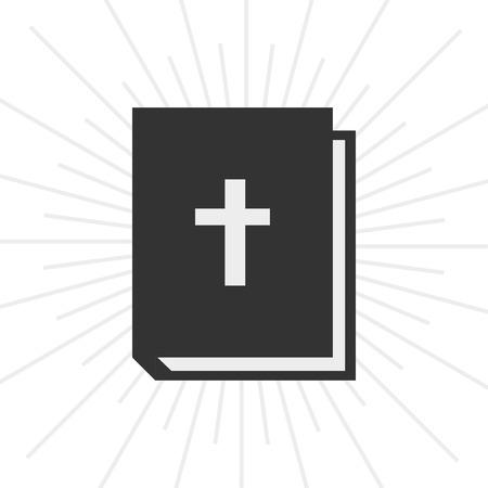 vangelo aperto: Icona libro biblico in stile piatto e scoppio sfondo