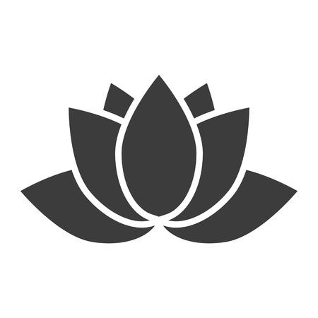 icono de la flor de loto sobre un fondo blanco en un estilo plano