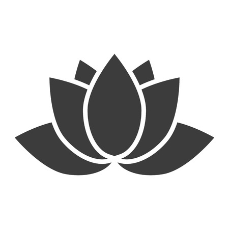 Lotus-Blume-Symbol auf einem weißen Hintergrund in einem flachen Stil