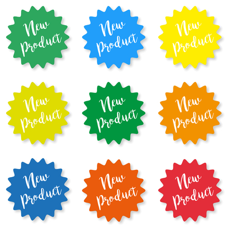Set of stickers with the inscription new product on a white background