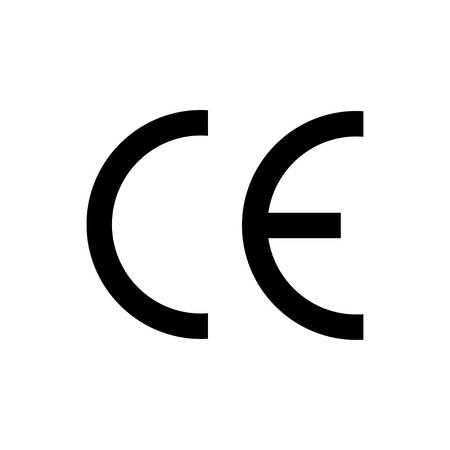 CE mark symbol black colored on white background 向量圖像