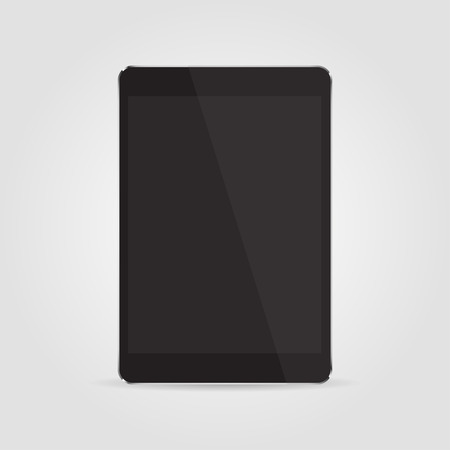 palmtop: Realistic black tablet with blank screen isolated on grey background. Vector  illustration