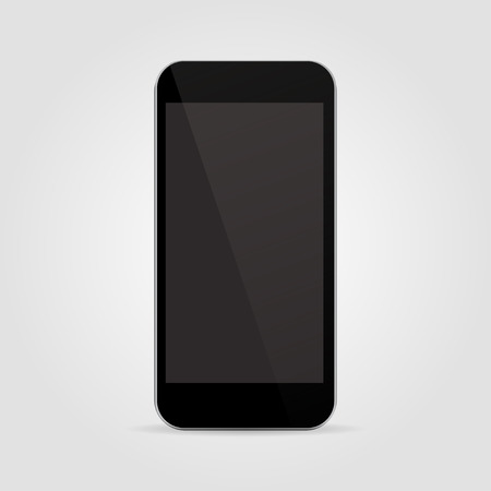 Realistic black smartphone in iphone style with blank screen isolated on grey background . Vector illustration Illustration