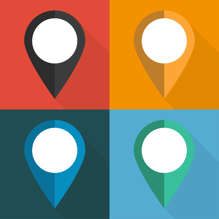 web icon: set of pointers to the map on different backgrounds vector illustration Illustration
