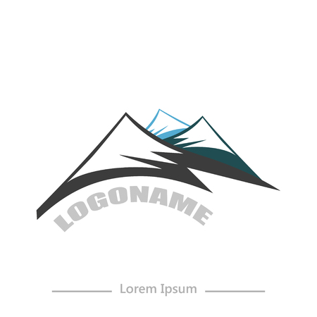 ranges: company with Mountain, flat design on white background