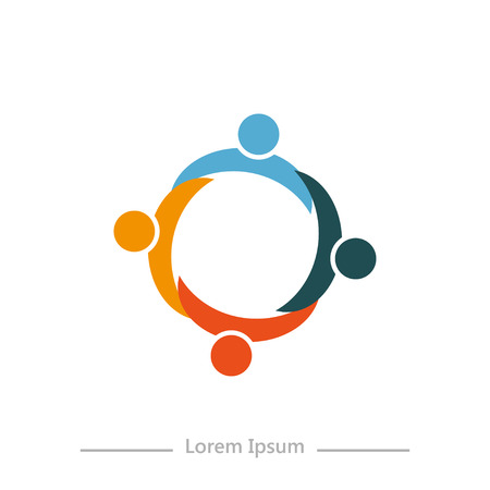 company with Synergy , flat design on white background