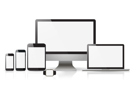 Devices screen tablet laptop and phone with shadow