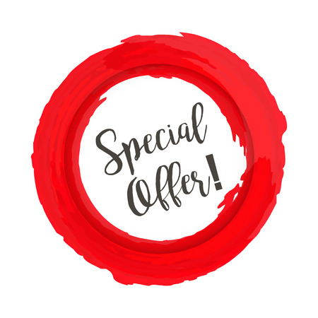 Special Offer grunge style red colored on white background