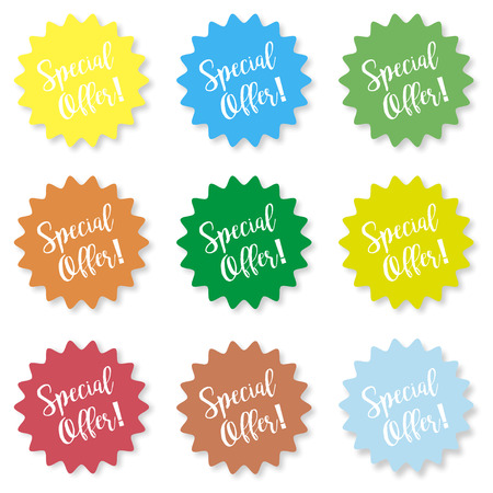 Set of stickers with the inscription special offer on a white background Illustration
