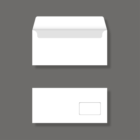 mailer: Blank envelope with window front and back view Mockup