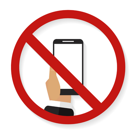 no cell phone sign: No phone simbol with shadow on a white background