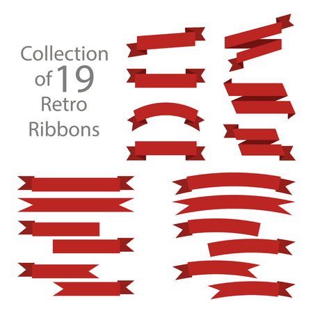 banderole: Ribbon set red colored on white background