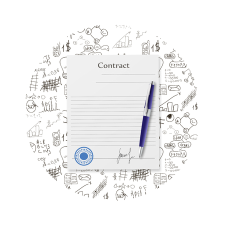 signing: Contract illustration flat design with 3d effect
