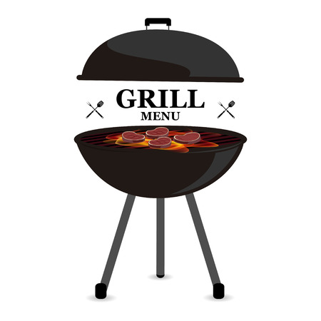 Baner barbecue on grill grill menu vector illustration